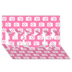 Pink Modern Chic Vector Camera Illustration Pattern Mom 3d Greeting Card (8x4)