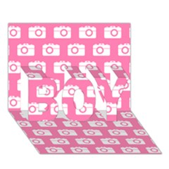 Pink Modern Chic Vector Camera Illustration Pattern Boy 3d Greeting Card (7x5)