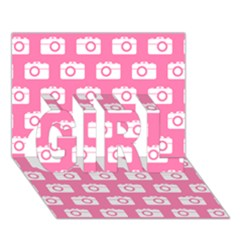 Pink Modern Chic Vector Camera Illustration Pattern GIRL 3D Greeting Card (7x5)
