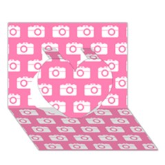 Pink Modern Chic Vector Camera Illustration Pattern Heart 3d Greeting Card (7x5)