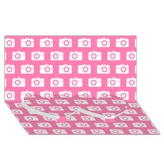 Pink Modern Chic Vector Camera Illustration Pattern Twin Heart Bottom 3D Greeting Card (8x4)