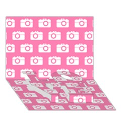 Pink Modern Chic Vector Camera Illustration Pattern LOVE Bottom 3D Greeting Card (7x5)
