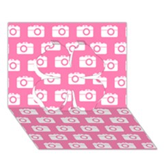 Pink Modern Chic Vector Camera Illustration Pattern Clover 3d Greeting Card (7x5)
