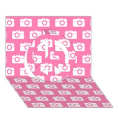 Pink Modern Chic Vector Camera Illustration Pattern Peace Sign 3D Greeting Card (7x5)