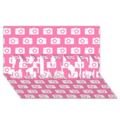 Pink Modern Chic Vector Camera Illustration Pattern #1 MOM 3D Greeting Cards (8x4)