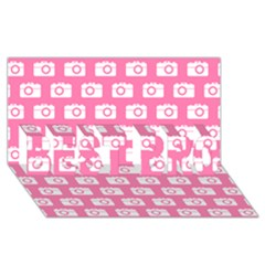 Pink Modern Chic Vector Camera Illustration Pattern BEST BRO 3D Greeting Card (8x4)