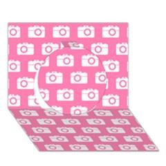 Pink Modern Chic Vector Camera Illustration Pattern Circle 3d Greeting Card (7x5)