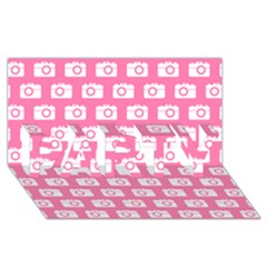 Pink Modern Chic Vector Camera Illustration Pattern PARTY 3D Greeting Card (8x4)