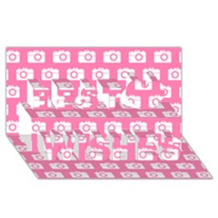 Pink Modern Chic Vector Camera Illustration Pattern Best Wish 3D Greeting Card (8x4)