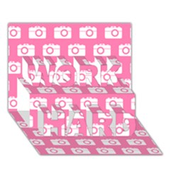 Pink Modern Chic Vector Camera Illustration Pattern Work Hard 3d Greeting Card (7x5)