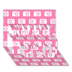 Pink Modern Chic Vector Camera Illustration Pattern THANK YOU 3D Greeting Card (7x5)