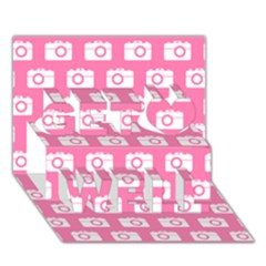 Pink Modern Chic Vector Camera Illustration Pattern Get Well 3d Greeting Card (7x5)