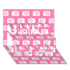 Pink Modern Chic Vector Camera Illustration Pattern You Rock 3d Greeting Card (7x5)