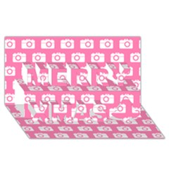 Pink Modern Chic Vector Camera Illustration Pattern Merry Xmas 3d Greeting Card (8x4)