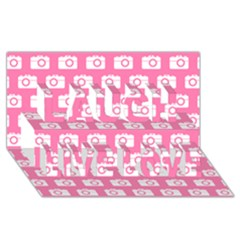 Pink Modern Chic Vector Camera Illustration Pattern Laugh Live Love 3D Greeting Card (8x4)