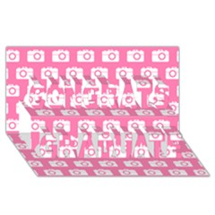 Pink Modern Chic Vector Camera Illustration Pattern Congrats Graduate 3d Greeting Card (8x4)