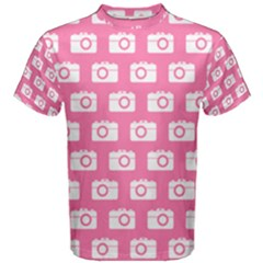 Pink Modern Chic Vector Camera Illustration Pattern Men s Cotton Tees