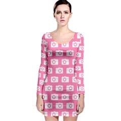 Pink Modern Chic Vector Camera Illustration Pattern Long Sleeve Bodycon Dresses