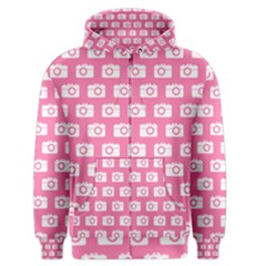 Pink Modern Chic Vector Camera Illustration Pattern Men s Zipper Hoodies