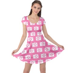 Pink Modern Chic Vector Camera Illustration Pattern Cap Sleeve Dresses