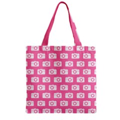 Pink Modern Chic Vector Camera Illustration Pattern Zipper Grocery Tote Bags