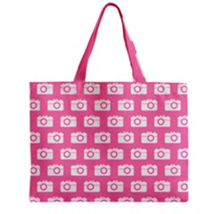 Pink Modern Chic Vector Camera Illustration Pattern Zipper Tiny Tote Bags
