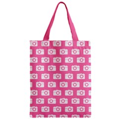 Pink Modern Chic Vector Camera Illustration Pattern Zipper Classic Tote Bags
