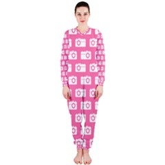Pink Modern Chic Vector Camera Illustration Pattern OnePiece Jumpsuit (Ladies)