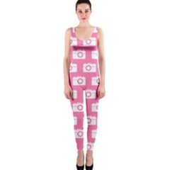Pink Modern Chic Vector Camera Illustration Pattern OnePiece Catsuits