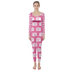 Pink Modern Chic Vector Camera Illustration Pattern Long Sleeve Catsuit