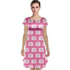 Pink Modern Chic Vector Camera Illustration Pattern Cap Sleeve Nightdresses