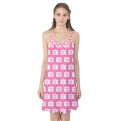 Pink Modern Chic Vector Camera Illustration Pattern Camis Nightgown