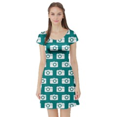 Modern Chic Vector Camera Illustration Pattern Short Sleeve Skater Dresses