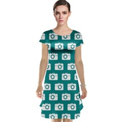 Modern Chic Vector Camera Illustration Pattern Cap Sleeve Nightdresses