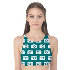 Modern Chic Vector Camera Illustration Pattern Tank Bikini Top