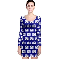 Modern Chic Vector Camera Illustration Pattern Long Sleeve Bodycon Dresses