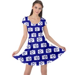 Modern Chic Vector Camera Illustration Pattern Cap Sleeve Dresses