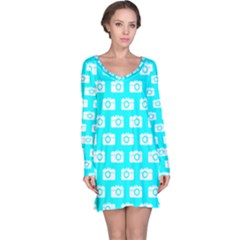 Modern Chic Vector Camera Illustration Pattern Long Sleeve Nightdresses
