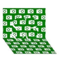 Modern Chic Vector Camera Illustration Pattern Clover 3D Greeting Card (7x5)