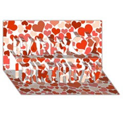 Heart 2014 0901 Happy Birthday 3D Greeting Card (8x4)