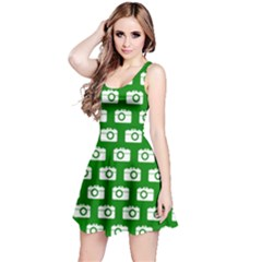 Modern Chic Vector Camera Illustration Pattern Reversible Sleeveless Dresses