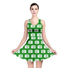 Modern Chic Vector Camera Illustration Pattern Reversible Skater Dresses