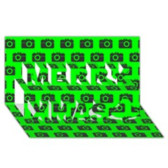 Modern Chic Vector Camera Illustration Pattern Merry Xmas 3D Greeting Card (8x4)