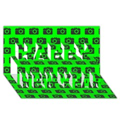 Modern Chic Vector Camera Illustration Pattern Happy New Year 3d Greeting Card (8x4)