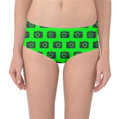 Modern Chic Vector Camera Illustration Pattern Mid-Waist Bikini Bottoms