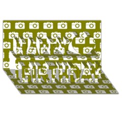 Modern Chic Vector Camera Illustration Pattern Happy Birthday 3d Greeting Card (8x4)