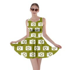 Modern Chic Vector Camera Illustration Pattern Skater Dresses