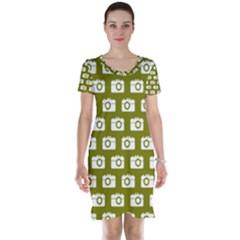 Modern Chic Vector Camera Illustration Pattern Short Sleeve Nightdresses