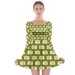 Modern Chic Vector Camera Illustration Pattern Long Sleeve Skater Dress