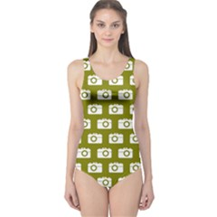 Modern Chic Vector Camera Illustration Pattern Women s One Piece Swimsuits